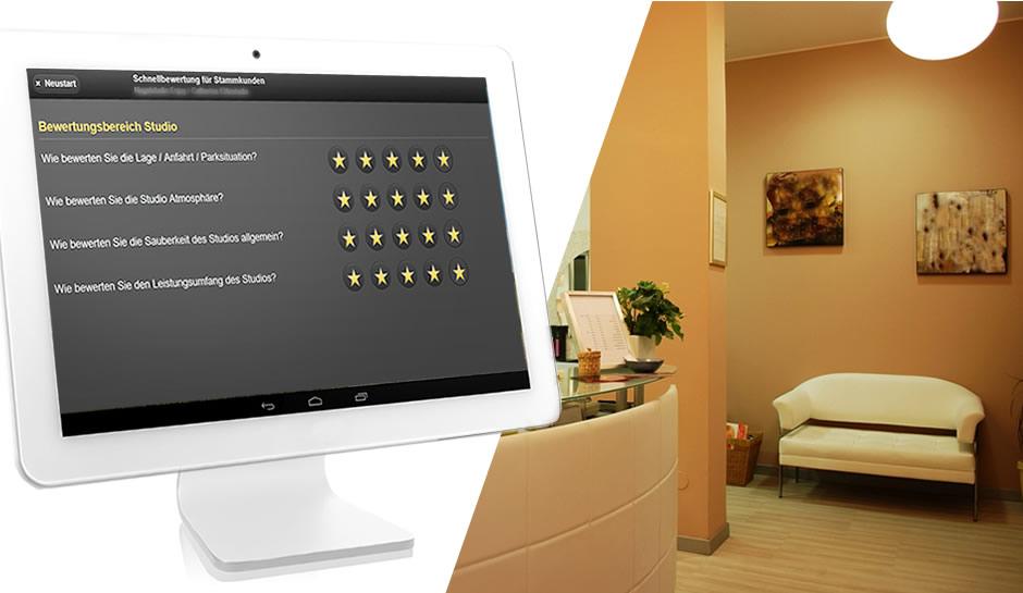 Moderner Tablet Computer für die Erfassung von Kundenbewertungen.